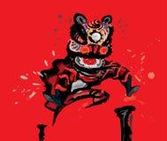 Скача китайский лев в различных цветах Стоковые Фотографии RF