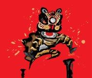 Скача китайский лев в различных цветах Стоковое фото RF