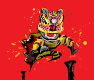 Скача китайский лев в различных цветах Стоковая Фотография RF