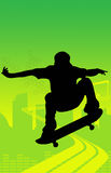 скача конькобежец скейтбордиста Стоковые Фото