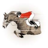 Скача лошадь и жокей Стоковые Изображения