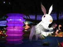 Скача фонарик кролика китайский - средний фестиваль осени стоковые фотографии rf