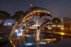 Скача фонтан дельфина Стоковое Изображение