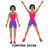 Скача jack Exersice спорта Силуэты женщины делая тренировку Разминка, тренируя иллюстрация вектора
