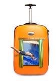скачет чемодан бассеина человека видимый который Стоковая Фотография