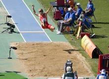 скачка атлетики европейская длинняя Стоковая Фотография