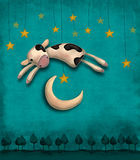 Скачка коровы над луной Стоковые Изображения RF