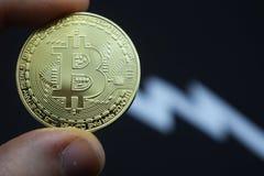 Скачком падение в bitcoin в цене, обесценивании стоковая фотография rf