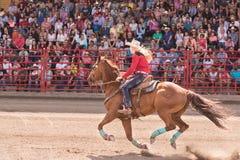Скачущ галопом лошадь и пастушка состязайтесь и barrel событие гонок стоковые фотографии rf