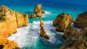 Скала Алгарве Португалии ландшафта Стоковая Фотография RF