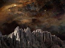 Скала в лунном ландшафте Стоковые Изображения