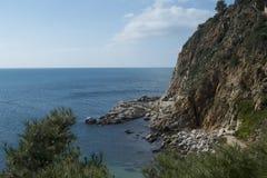 Скала и море в Tossa de mar Испания Стоковое Изображение