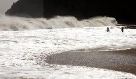 Скала и пловцы в волнах стоковая фотография