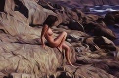 Скалистая девушка Стоковая Фотография RF