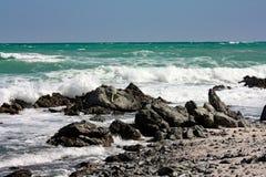 Скалистое море Coast#1: Остров Masirah, Оман Стоковое Изображение