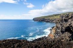 Скалистое побережье острова пасхи - острова пасхи, Чили Стоковые Изображения RF