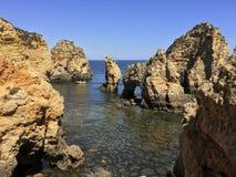 Скалистые выходы пластов окруженные малой водой Стоковое Изображение RF