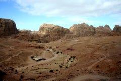 Скалистый ландшафт пустыни Petra, Джордана Стоковая Фотография RF