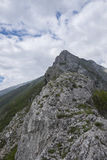 Скалистый край горы, держателя Catria, Apennines, Марша, Италии Стоковое Фото