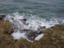 Скалистый пляж в Cozumel Стоковая Фотография RF