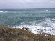 Скалистый пляж в Cozumel Стоковая Фотография