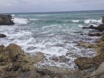 Скалистый пляж в Cozumel Стоковое фото RF