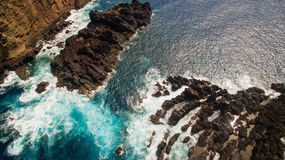 Скалы около вида с воздуха Порту Moniz Мадейры Португалии Стоковая Фотография RF