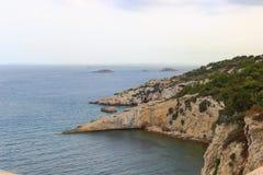 Скалы острова Ibiza стоковая фотография rf