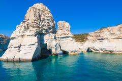 Скалы Kleftiko, Milos остров, Киклады, Греция Стоковая Фотография RF