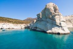 Скалы Kleftiko, Milos остров, Киклады, Греция Стоковое Изображение