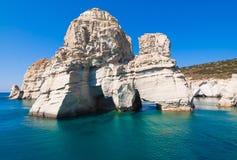 Скалы Kleftiko, Milos остров, Киклады, Греция Стоковая Фотография