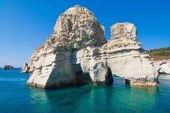 Скалы Kleftiko, Milos остров, Киклады, Греция Стоковые Изображения