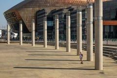 Скейтбордист на публичной арене центра тысячелетия Кардиффа Уэльс стоковое фото rf
