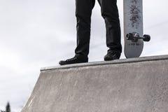 Скейтбордист на хафпайпе Стоковая Фотография