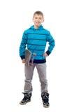 скейтборд мальчика милый представляя подростковый Стоковые Фото