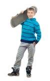 скейтборд мальчика милый представляя подростковый Стоковые Изображения