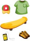 Скейтборд, аудиоплейер и одежда бесплатная иллюстрация
