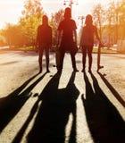 Скейтбордисты друзей силуэта 3 в городе Стоковое Фото