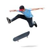 Скейтбордист делая скача фокус на скейтборде низкое поли стоковая фотография rf