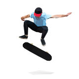 Скейтбордист делая скача фокус на скейтборде низкое поли стоковые фотографии rf