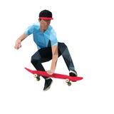 Скейтбордист делая скача фокус на скейтборде низкое поли стоковое изображение