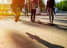 Скейтбордист силуэта скача в город Стоковая Фотография