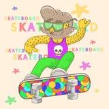 Скейтбордист с бородой выполняет фокус иллюстрация вектора