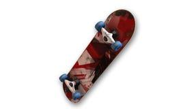 Скейтборд, спортивный инвентарь изолированный на белой предпосылке, нижнем взгляде Стоковые Изображения