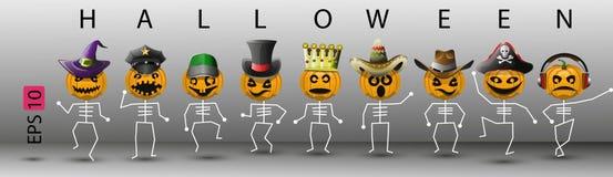 Скелеты тыквы абстрактные в различных шляпах на хеллоуин Стоковая Фотография
