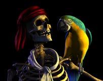 скелет пирата путя клиппирования Стоковые Фото