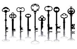скелет 10 икон ключевой Стоковая Фотография