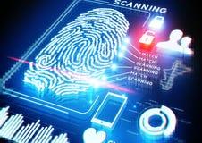 Скеннирование отпечатка пальцев цифров Стоковое фото RF