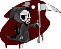 Скелетный мрачный жнец иллюстрация вектора