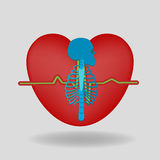 Скелет на предпосылке сердец иллюстрация штока